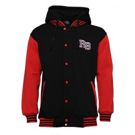 Raw Blue 2 Tone Hoodies (Black/Red)-XXX-Large