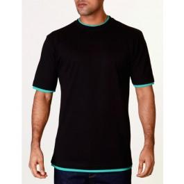 Raw Blue Mens Contrast Basic T-Shirt Black/Green X-Large
