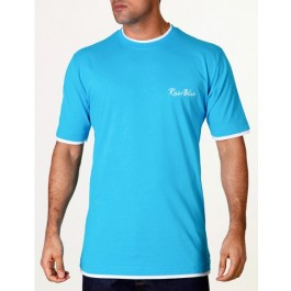 Raw Blue Mens T-Shirts Contrast Signature Aqua/White XX-Large