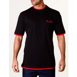 Raw Blue Mens Contrast Signature T-Shirts Black/Red X-Large