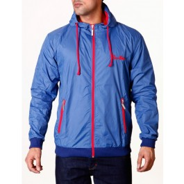 Raw Blue Mens Jackets Signature Contrast Windbreaker Navy/Red Large