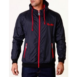 Raw Blue Mens Jackets Signature Contrast Windbreaker Black/Red XX-Large