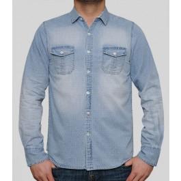 Brave Soul Mens Shirts Dante Bleached Denim Blue Large
