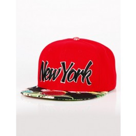 City Hunter Mens New York Flower Print  Caps (Red/Black) One_Size Fit All