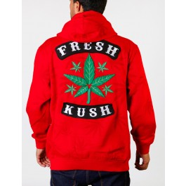 Raw Blue Mens Weed Plant  Hoodies (Red) 3_XL