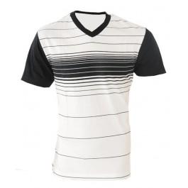 Raw Blue Mid Stripe V-Neck T-Shirt (Black/White) -X-Large