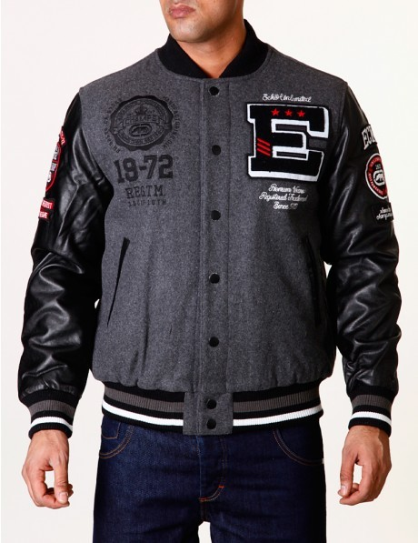 Ecko Mens  Dark Sided Varsity Jacket  (Black)