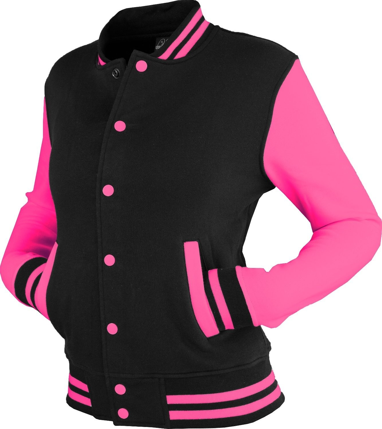 Urban Classics Womens 2-tone College Sweat Jacket (Black/Fuchsia)