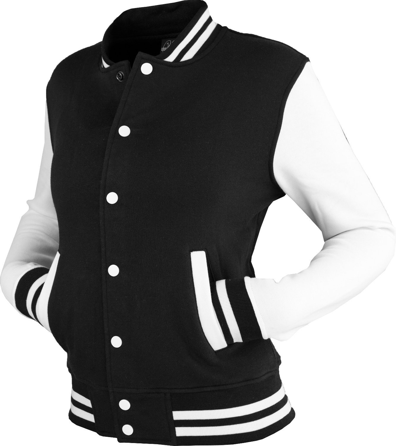 Urban Classics Womens 2-tone College Sweat Jacket (Black/White)