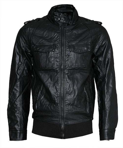 Ecko Mens Crinkle Faux Leather Jacket (Black)