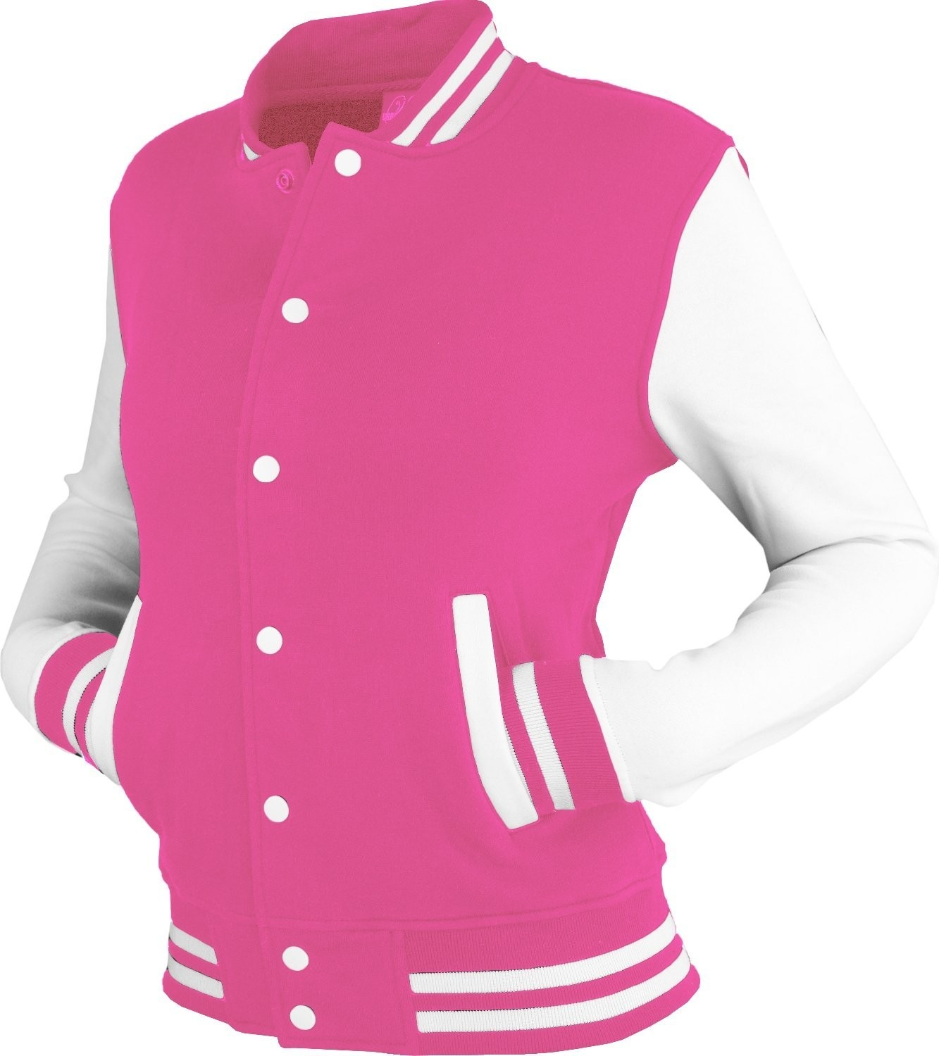 Urban Classics Womens 2-tone College Sweat Jacket (Fuchsia/White)