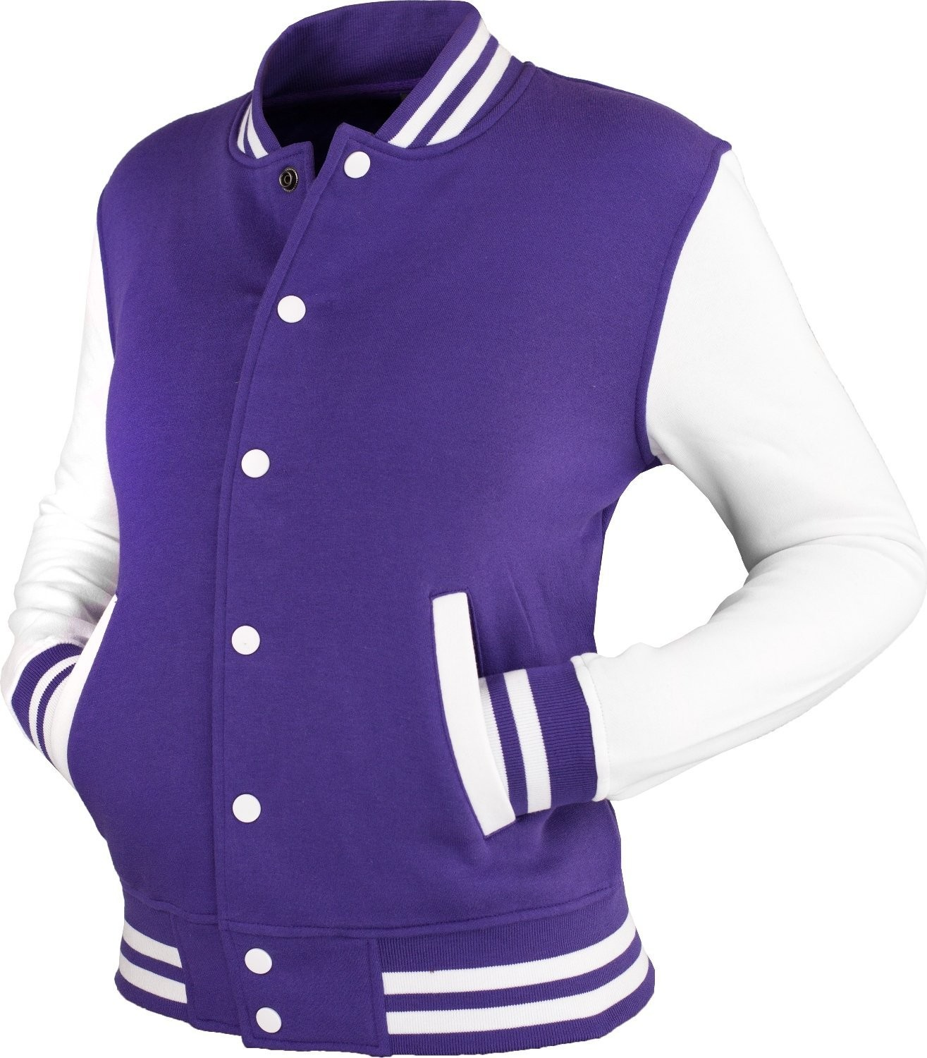 Urban Classics Womens 2-tone College Sweat Jacket (Purple/White)