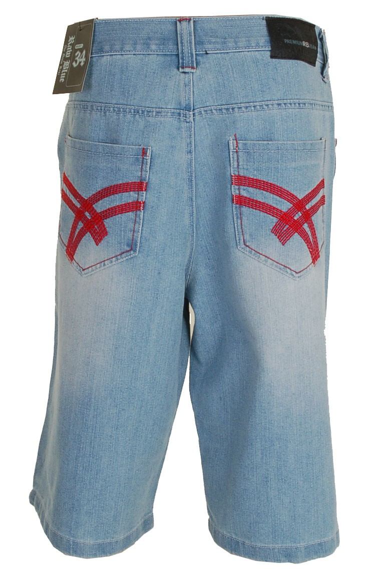 Raw Blue Shorts (Light Indigo/Red)