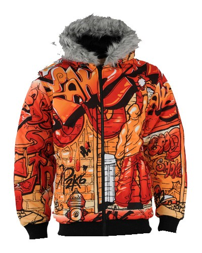 Raw Blue Graffiti Reversible Padded Jackets (Orange)
