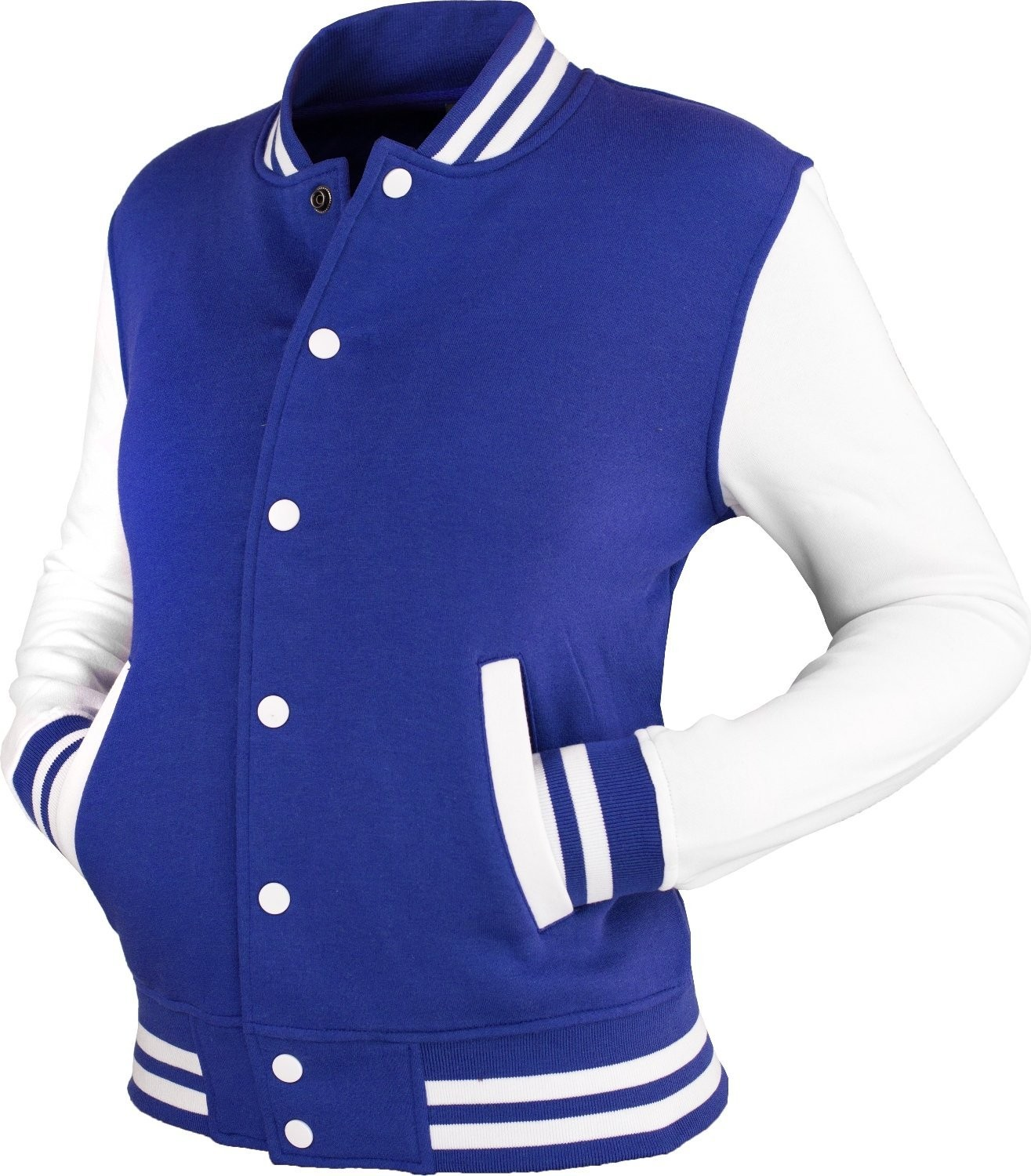 Urban Classics Womens TB218 2-tone College Sweat Jacket (Royal/White)