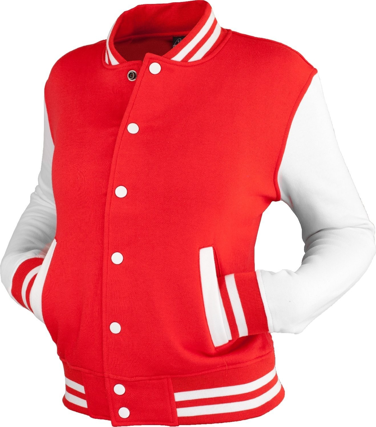 Urban Classics Womens 2-tone College Sweat Jacket (Red/White)
